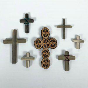 Handmade wooden & walnut shell cross crucifix lot